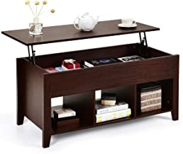 Tangkula Lift Top Coffee Table, Wood Home Living Room Modern Lift Top Storage Coffee Table w/Hidden Compartment Lift Tabletop Furniture (Brown)