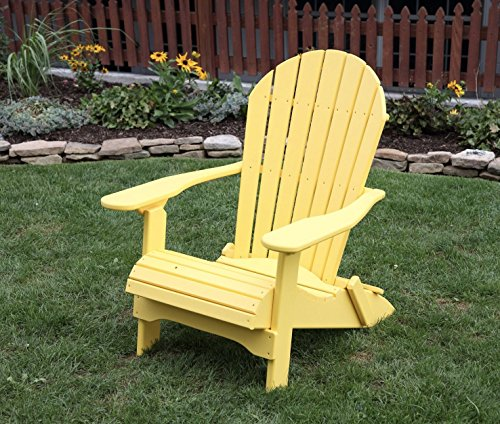 Yellow-Poly Lumber Folding Adirondack Chair with Rolled Seating Heavy Duty Everlasting Lifetime PolyTuf HDPE - Made in USA - Amish Crafted