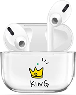 Transparent Case Compatible with Airpods Pro Case Premium Crystal Clear TPU Protective Cover,Visible LED Shock & Scratch&Slip-Resistant, Compatible with Apple AirPods PRO-King