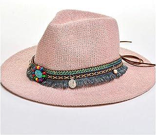 SHENTIANWEI Fashion Summer Boho Style Women Sun Hat Lady Wide Brim Jazz Hat Hat With Straw Vintage Hat Floppy Sun Beach Church Cap