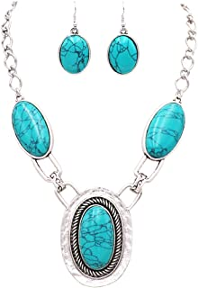 Rosemarie Collections Women's Western Chic Statement Oval Semi Precious Howlite Stone Concho Necklace Earring Jewelry Set,...
