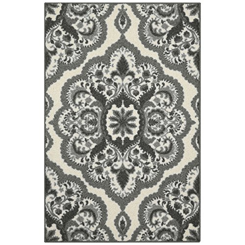 Maples Rugs Vivian Medallion Kitchen Rugs Non Skid Accent Area Carpet [Made in USA], 2'6 x 3'10, Grey