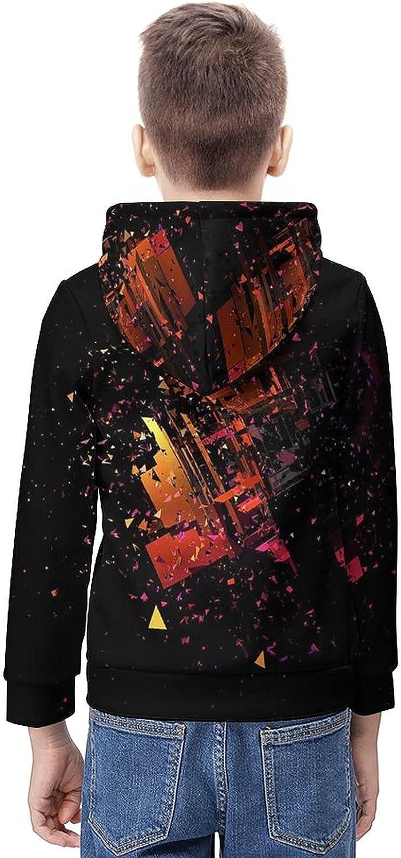 Kimisoy Hooded Sweater for Boys Rushing Debris in Black Youth Sweatshirt Comfy Hooded Sweatshirt Loose Pull Over Hoodie