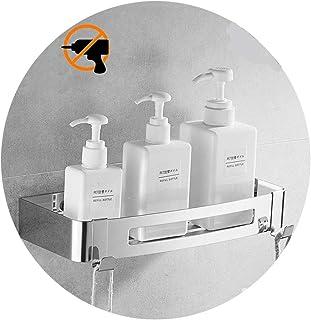 Estante para baño Kazeila, sin perforaciones, estanteria para ducha montado en la pared, pegamento autoadhesivo, acero inoxidable 304 con 2 ganchos para colgar accesorios de baño (rectángulo)