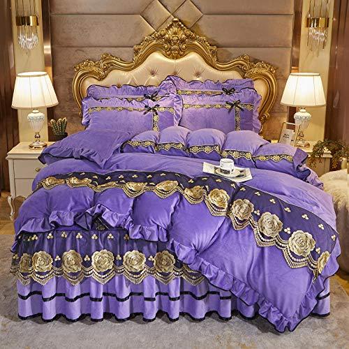 Juego de cuatro piezas de forro polar de coral estilo falda de cama, colcha de edredón de doble cara más forro polar adecuado para cama doble king-deep_purple_Bed_skirt: _200cm * 220cm (4 piezas)