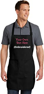 Personalized Apron Add a Name Embroidered Design Add Your Own Name Full-Length Apron with Two Pockets 22