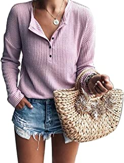 Women's Waffle Knitted Henley Shirt Tops Long Sleeve Button Up Pullover Solid Tunic Tee