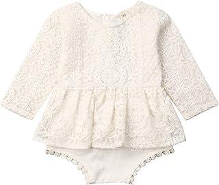 Body de encaje para bebé de tul blanco y algodón