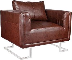 Anself Sessel Polstersessel Wohnzimmersessel Loungesessel mit Chromfüßen 2 Typ Optional