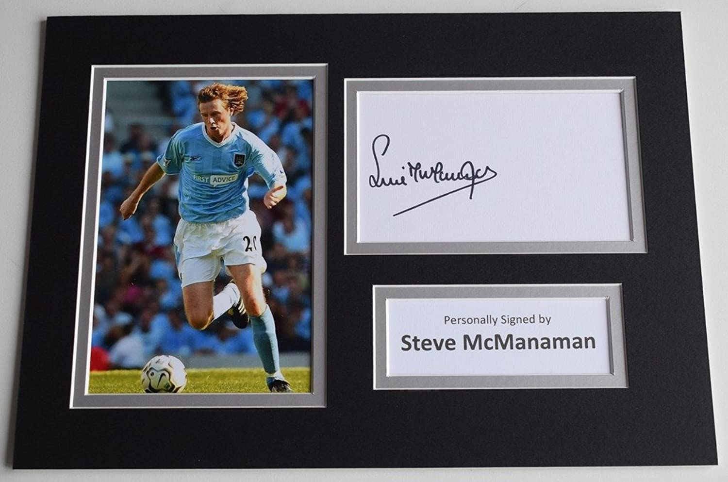 Sportagraphs Steve McManaman Signed Autograph A4 photo display Manchester City AFTAL COA PERFECT GIFT