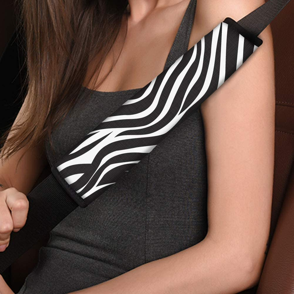 CLOHOMIN Black and White Zebra Decor Car Seat Belt Shoulder Pads for Women Girls,Soft Material Better for Neck Shoulder(2 Pack)