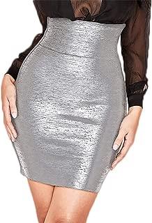 HLBandage Elastic Leather High Waist Bodycon Mini Skirt