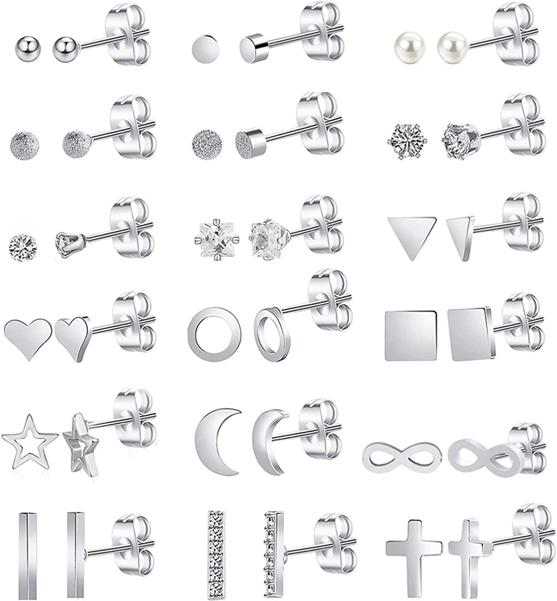 SPINEX 18 Pairs Surgical Steel Stud Earrings for Women Men Tiny Cartilage CZ Stud Earrings Bar Triangle Square Star Moon Heart Disc Ball Cross Infinity Stainless Steel Geometric Earrings Piercing Set (18 pairs)
