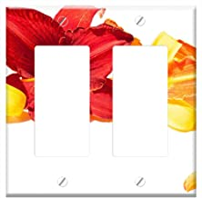 Switch Plate Double Rocker/GFCI - Daylily Flowers Summer Stationery Business Card