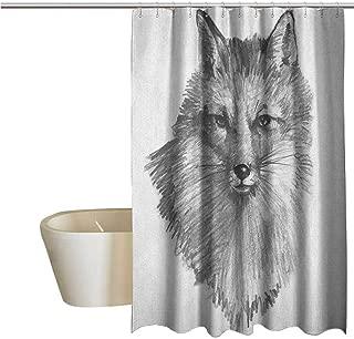 Genhequnan Fox Geometric Shower Curtain Sketchy Fox Portrait Hunting Predator Vixen Vulpine Nature Inspired Hand Drawing for Kids Bathroom Guest Bathroom W94 x L70 Inch Grey Black White