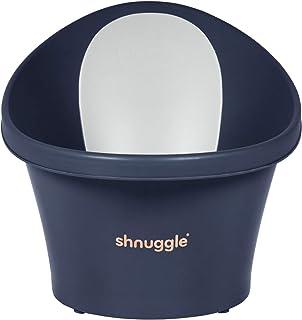Shnuggle Baby Bath with Plug & Foam Backrest, Navy