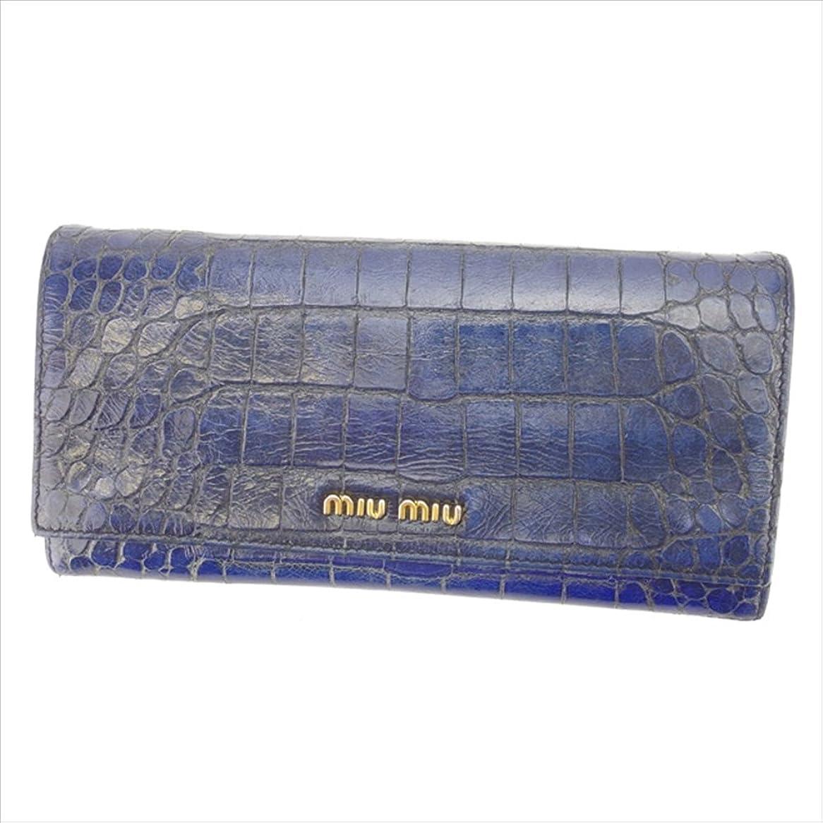 公爵お風呂を持っている受ける(ミュウミュウ) Miu Miu 長財布 ファスナー付き長財布 ブルー×ゴールド クロコダイル調 レディース 中古 P328
