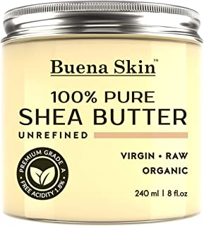 Buena Skin Pure Shea Butter - Raw African Organic Grade A Ivory Unrefined, Cold-Pressed - Great to Use Alone or DIY Body Butters, Lotions, Soaps, Eczema & Stretch Mark Products, from Ghana 8 oz