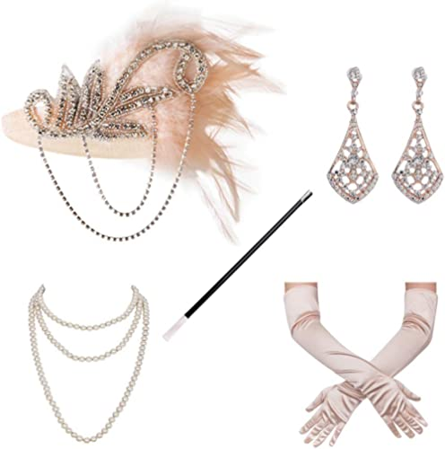 Xuhan 1920s Flapper Costume Accessories Set for Women Headband Earrings Necklace Holder Gloves