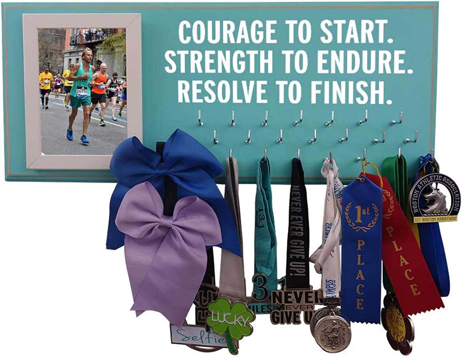 Running On The WallGifts for RunnersMarathon Medal DisplayMedal Rack for Running Awards Hanger  Wall Mounted HolderCourage to Start.Strenght to Endure.Resolve to Finish