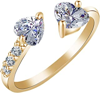 Sterling Silver Plated & 18K Gold Plated CZ White Crystal Rhinestones Double Heart Band Ring,Adjustable