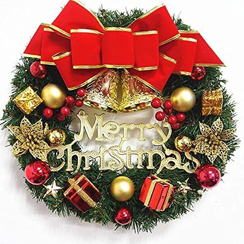 XinLuMing 30 cm Rayos de Navidad Adornos de Guirnalda con Letras Feliz Navidad, Decoración de la Corona de Navidad con Bolas de Campanas Bowknot para la Pared de la Puerta Delantera (Color : A)