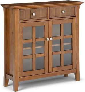 Simpli Home AXWELL3-13HB Acadian Solid Wood 36 inch Wide Rustic Entryway Storage Cabinet in Honey Brown