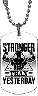 CARONECK Cool Weightlifting Necklaces, Stronger Than Yesterday Dog Tag