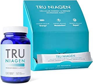 (Bundle) Tru Niagen NAD+ Booster for Cellular Repair & Energy Metabolism - 1x 120 Count, 150mg Capsules + 1x 300mg 30 Day ...