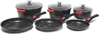 Juego de utensilios de cocina de inducción (20/24/28 cm) +sartén de piedra antiadherente (20/24/28 cm) sin PFOA antiadherente (apto para fuegos, inducción, horno) - 18 piezas