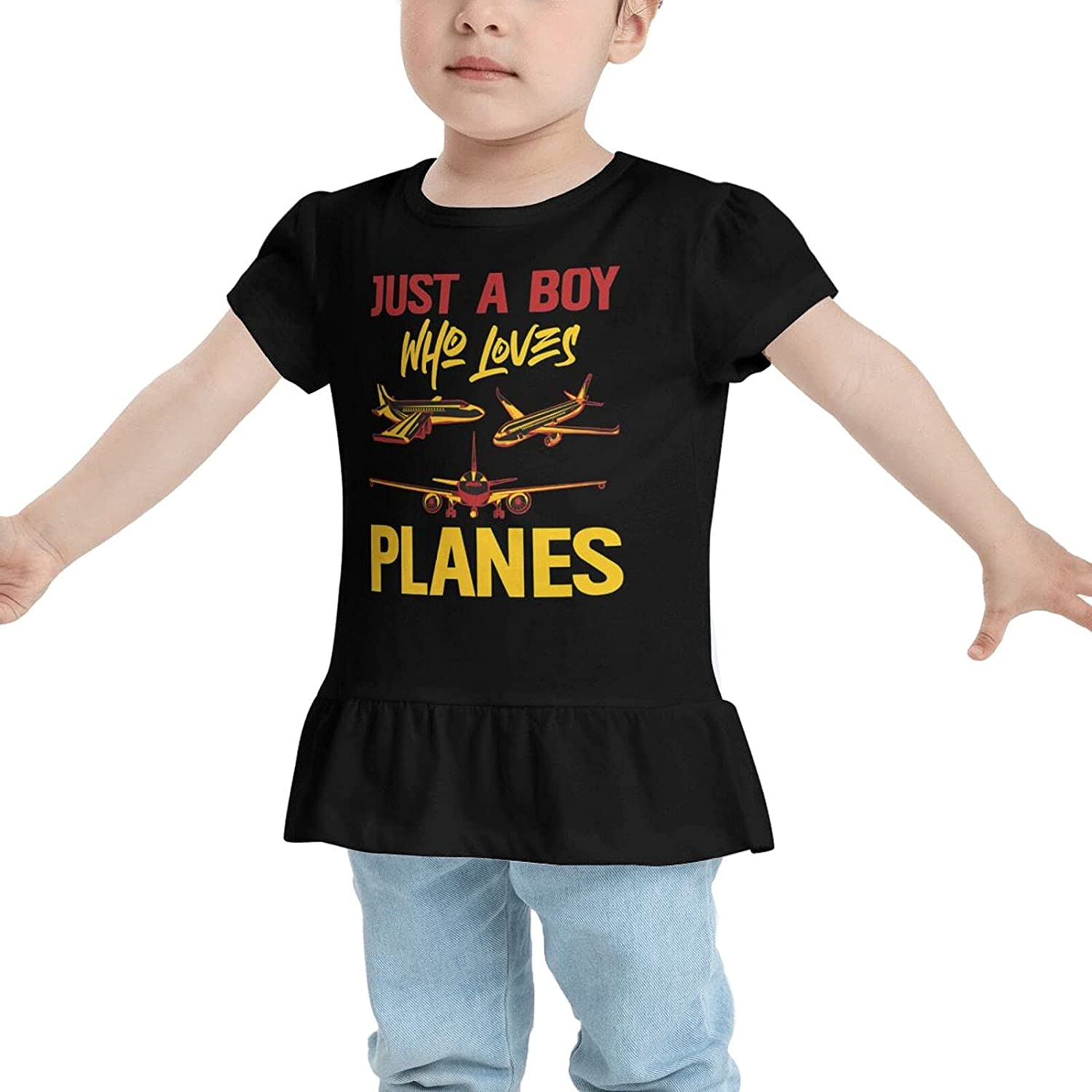 Just A Boy Who Loves Planes Children 2-6 Years Old Girls Short-Sleeved Cartoon Print Ruffled T-Shirt