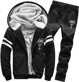 Goorape Mens Fleece Lined Sweatsuit Striped Casual Winter Coat Sports Tracksuit Black XS