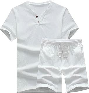 Maweisong Men Two Piece Tee Drawstring Short Pajamas Suits