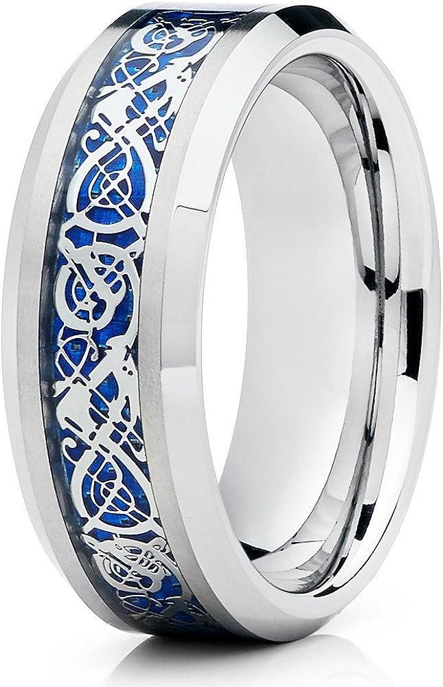 Silly Kings 8mm Tungsten Carbide Wedding Band Blue Dragon Design Comfort Fit Men & Women Band