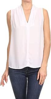 Women's Basic V Neck Sleeveless Office Tank Blouse Top - Made in USA