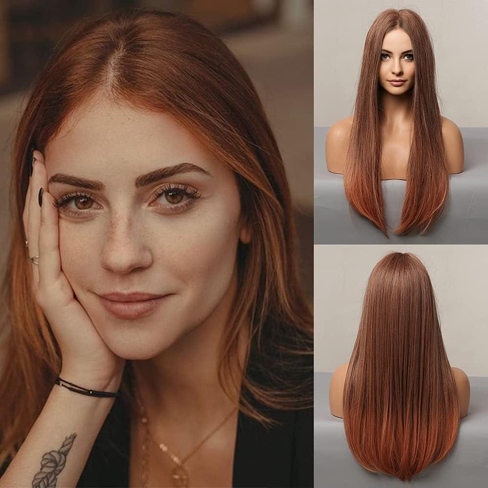 HAIRCUBE Pelucas Ombre rectas , pelucas sintéticas de color marrón rojizo, pelucas naturales resistentes al calor de parte media para uso diario