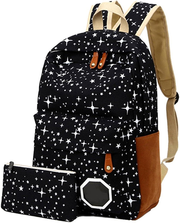 2 Teile satz Frauen Schultasche Rucksack Leinwand Leinwand Leinwand Nette Sterne Druck Rucksack Für Mädchen Im Teenageralter LXX9 schwarz B07FBGV5GH | Neu  35c67a