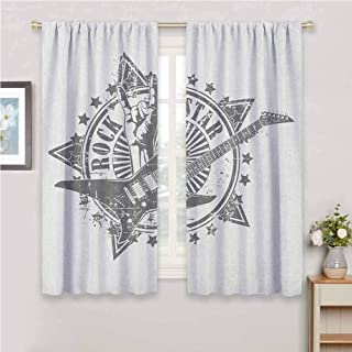 Guitar All Season Insulation Stars with Rock Sign Monochrome Musical Instrument Design Rockstar Life Singing Noise Reduction Curtain Panel Living Room W63 x L72 Inch Pale Grey White