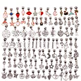 100 Pieces Bracelet Dangle Charms Spacer Beads for Jewelry Making Supplies Inspirational Necklace Pendant Bails Connector Gold Plated Enamel Bracelet Charms Tibetan Antique Silver (mixed 100pcs)