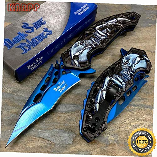 Fantasy Skull Handle Stainless Blue 3.5'' Steel Blade Knife - Outdoor Camping perfect For Hunting EDC EMT