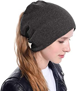 TIENCIY New Messy Bun Ponytail Winter Beanie Hat for Women Slouchy Beanie with Hair Hole for Indoor and Running Sport
