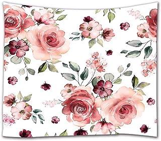 A.Monamour Tapices de Pared Acuarela Pintada A Mano Flores Color De Rosa con Hojas Botánico Temático Vintage Floral Fondo Blanco Tapicería Cortinas Mantel Colcha Toalla De Playa 153x229cm