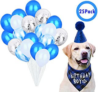 JPB Dog Birthday Party Supplies,Pet Birthday Hat,Boy Doggy Birthday Bandana and 20Pack Latex Balloons