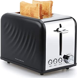Toaster 2 Slice, Vestaware Extra Wide Slot Toaster - Bagel/Defrost/Cancel Function, 6 Bread Shade Stainless Steel Kitchen Toaster with Removable Crumb Tray for Bread Waffles