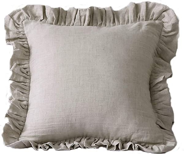 Esasilk Ruffles Linen Cushion Cover Pure Flax Pillow Sham 100 French Linen Ruffled Pillow Cover 16 16 Flax