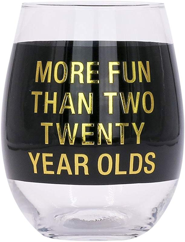 More Fun Than Two Twenty Year Olds On Black 16 Oz Clear Wine Glass