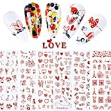 Valentines Nail Art Stickers Heart Rose Nail Decals 8Sheets Valentine's Day Nail Art Supplies Stickers for Women Self-Adhesive Heart XO Love Acrylic Nail Decorations Nail Designs Red Color