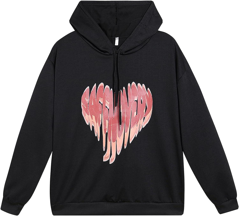 Women Heart Ranking TOP19 Graphic Max 49% OFF Cropped Sweatshirt Casual Long T Hood Sleeve