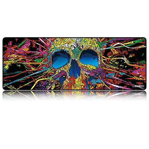 LIEBIRD Extended XXXL Skull Gaming Mouse Pad -31.5Lx11.8Wx0.12H- Portable with Extended XXL Size - Non-Slip Rubber Base - Special Treated Textured Weave with Precision Control (Skeleton-XXL)