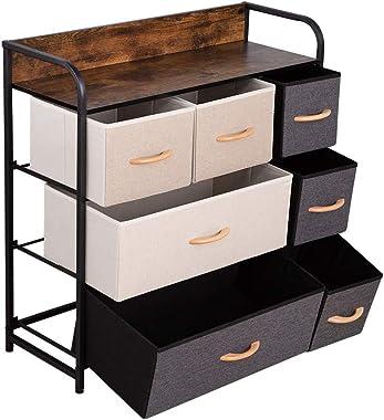 Dresser Storage Organizer -Dresser Clothes Storage - 7 Drawer Fabric Storage Tower - Sturdy Steel Frame, Wooden Top/Easy Pull